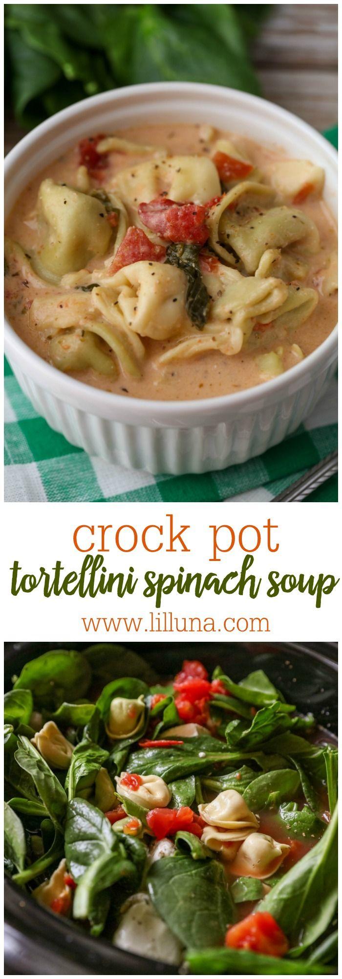 Crock Pot Tortellini Spinach Soup (+VIDEO) | Lil' Luna #spinachsoup