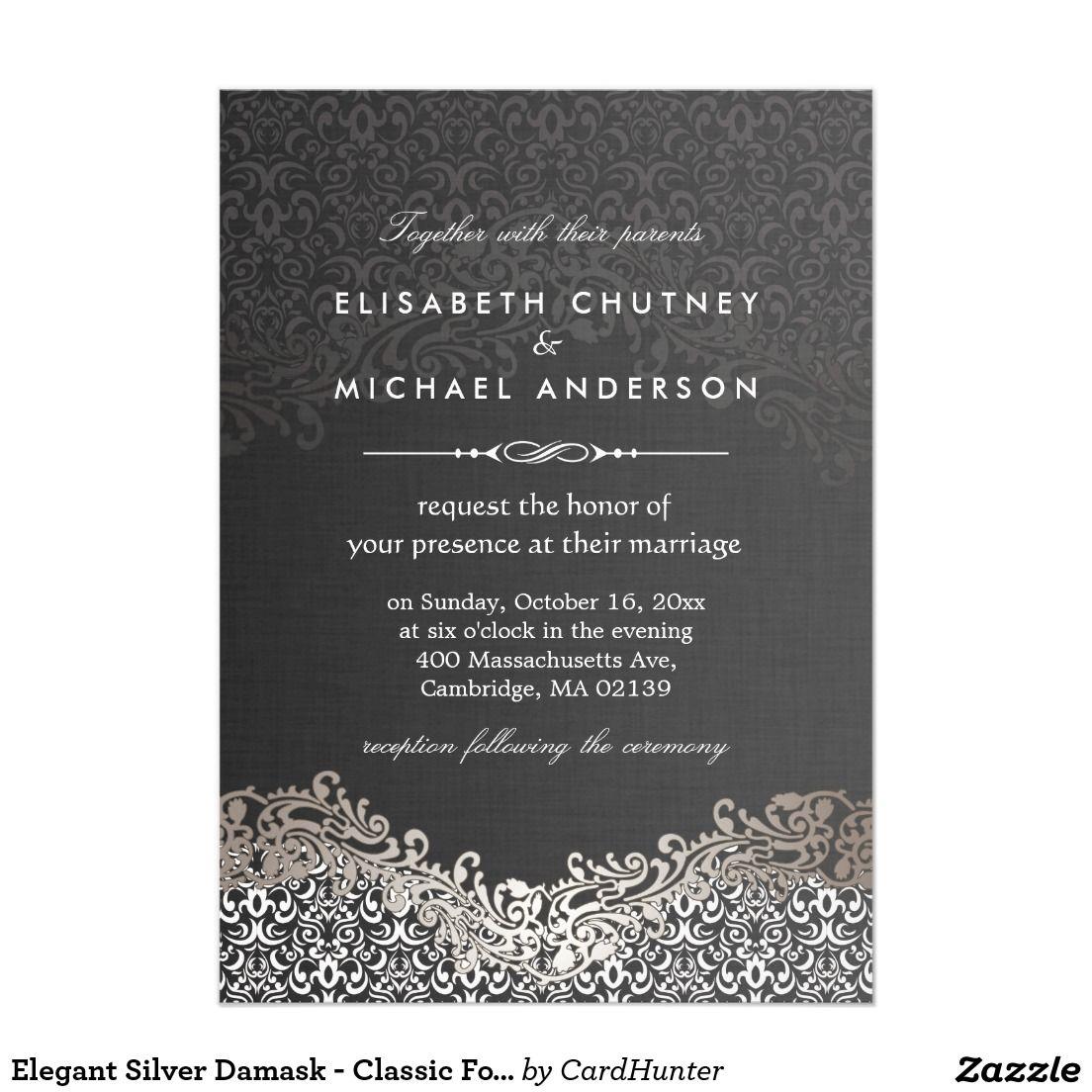 Elegant Silver Damask Classic Formal Wedding Card Smith Wedding