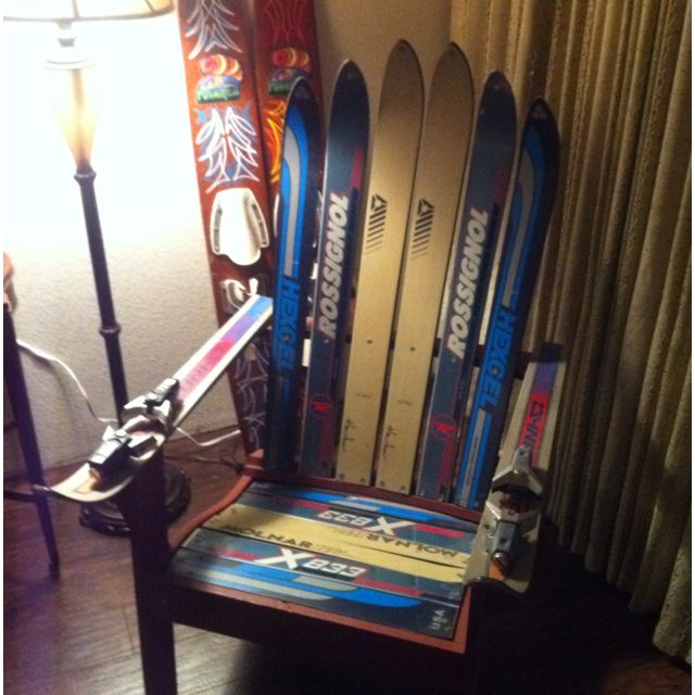 Vintage Ski Chair... Love The Binding Cup Holders