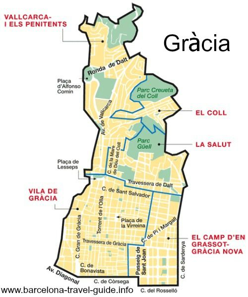 This Map Of The Barcelona District Of Gracia Shows The Vila Close