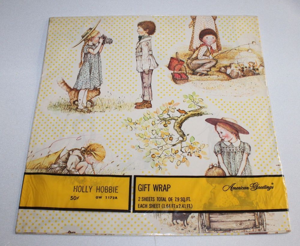 New Nos Vintage Holly Hobbie Gift Wrap Wrapping Paper American