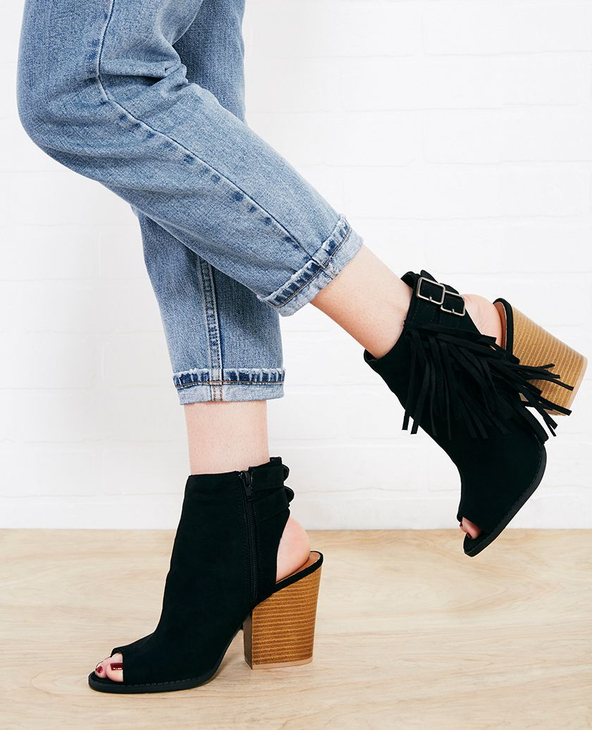 Peep Toe Fringe Heeled Booties | Wet Seal | SHOES | Pinterest ...