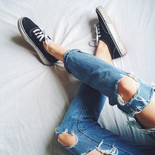vans + ripped jeans