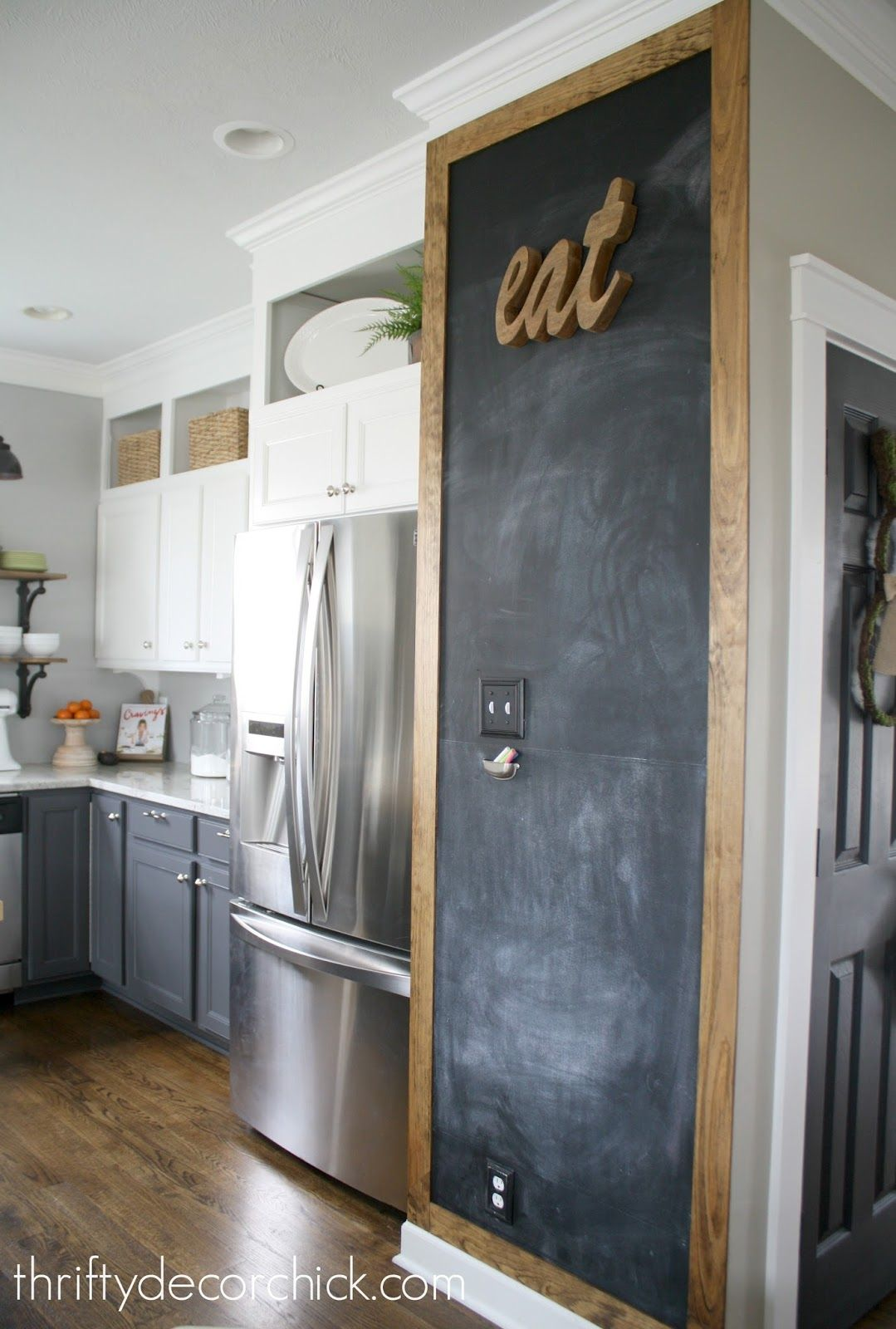 Kitchen Walls White Island With Stools Adding Some Rustic Charm To The Wall Stained Frame Around Chalkboard