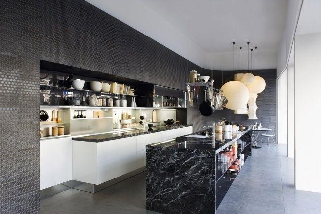 Moderne Kuche Schwarze Kuchenwand Marmor Kochinsel Arbeitsplatte