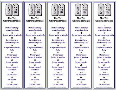 Five Printable Ten Commandments Bookmarks Print Per Page Free From