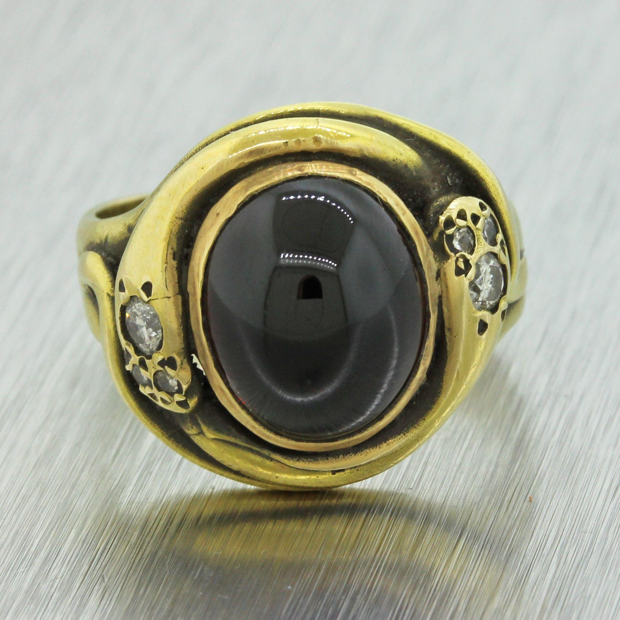 1880s Antique Victorian Estate 14k Solid Yellow Gold Garnet Diamond Snake Ring