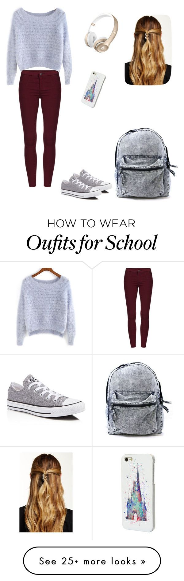 """""""School look"""" by fashiongirlprox on Polyvore featuring Converse, Disney and Natasha Accessories"""