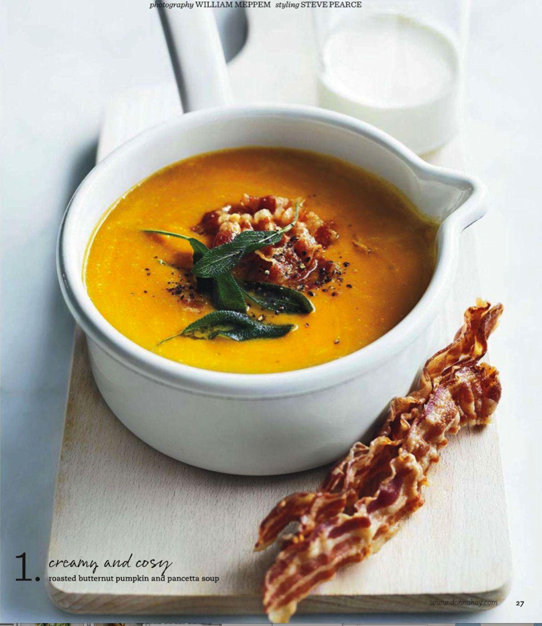 roasted butternut pumpkin & pancetta soup. donna hay ...