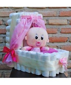 Ideas Originales Para Regalar En Un Baby Shower.Cuna De Panales Rosa Regalos Con Panales Tortas Pasteles