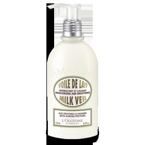 Almond Milk Veil er beriket med mandelolje, mandelmelk, mandelproteiner og silisiumderivat som bidrar til å mykgjøre og gi fuktighet til huden. Formu