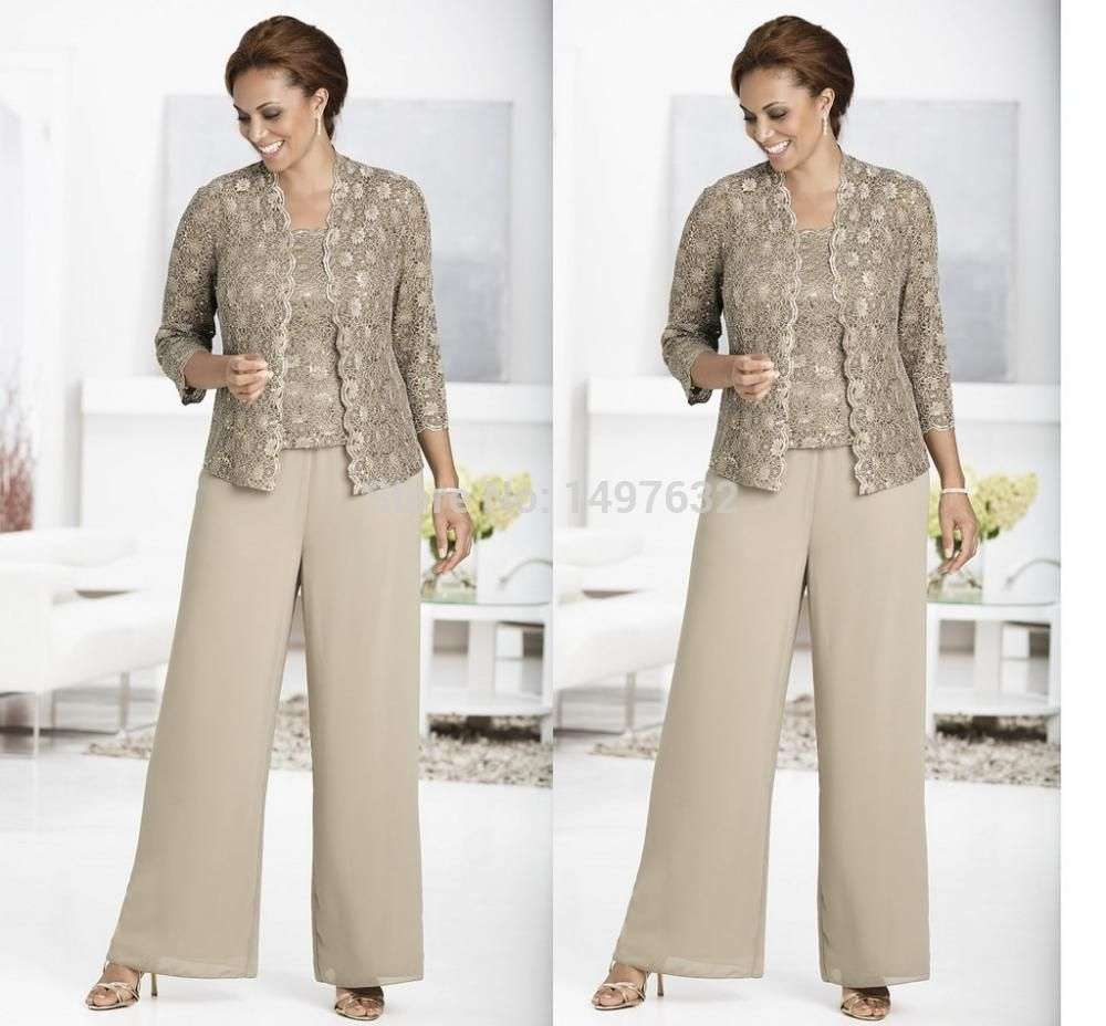 Hot Three-piece Pant Set Ankle-Length Lace and Chiffon Mother of ...
