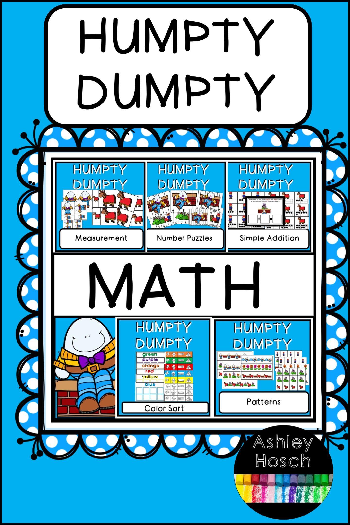 Humpty Dumpty Thematic Math Activities For Preschool