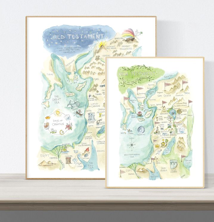New Testament Map Print In 2020 Watercolor Map Map New Testament