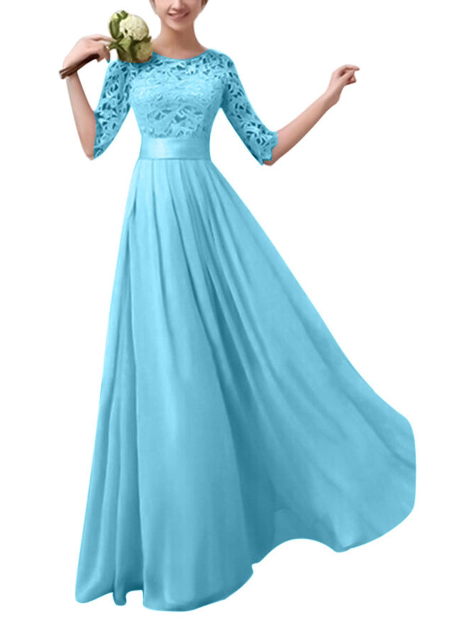 Ladies Lace Long Formal Party Evening Prom Ball Gowns Wedding Bridesmaid Dress