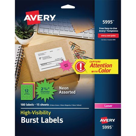 Avery 5994 Neon Fluorescent Burst Laser Labels 1 1 2 Diameter 360 Pack Walmart Com In 2020 Laser Labels How To Memorize Things Labels