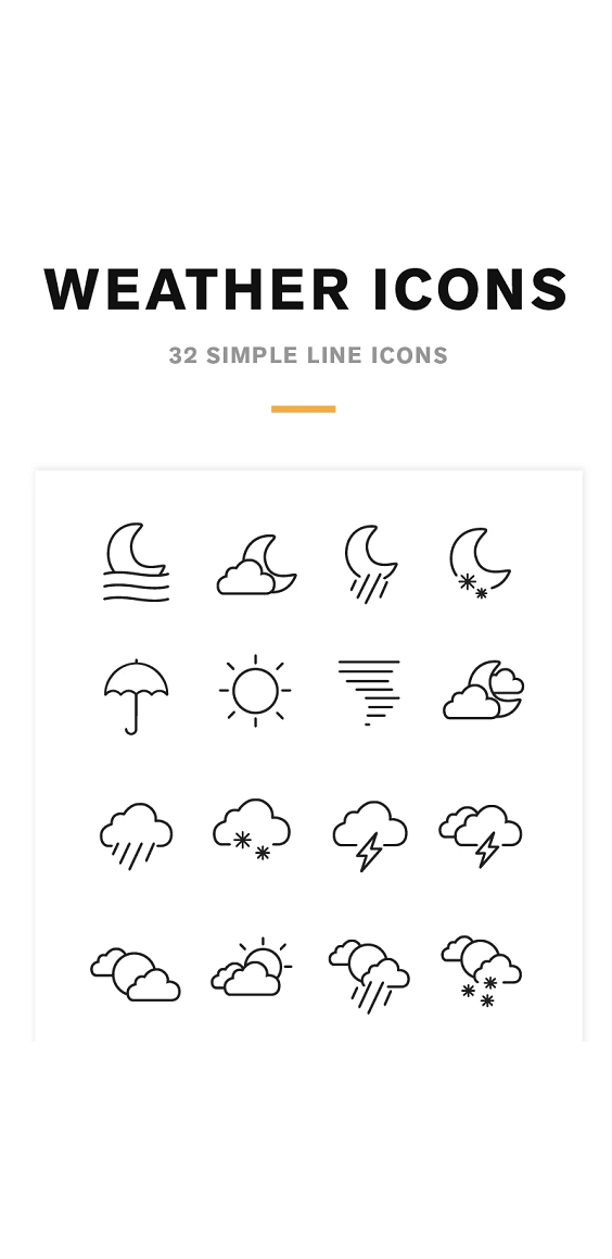 Weather Icons and Font Iconset Template 82209 (With