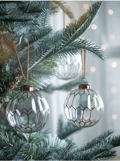 Six Geometric Baubles Silver Christmas Decorations Christmas Ornaments Sale Christmas Decorations Ornaments