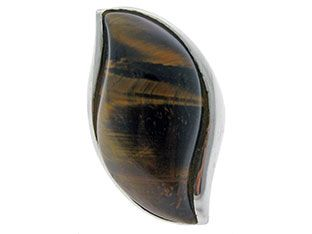 Marquise Shaped Tiger's Eye Sterling Silver Cabochon Ring Band exclusively at gemologica.com