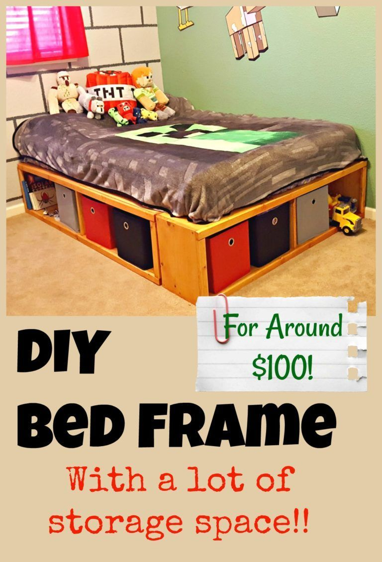 DIY Full Size Bed Frame with Storage Diy full size bed