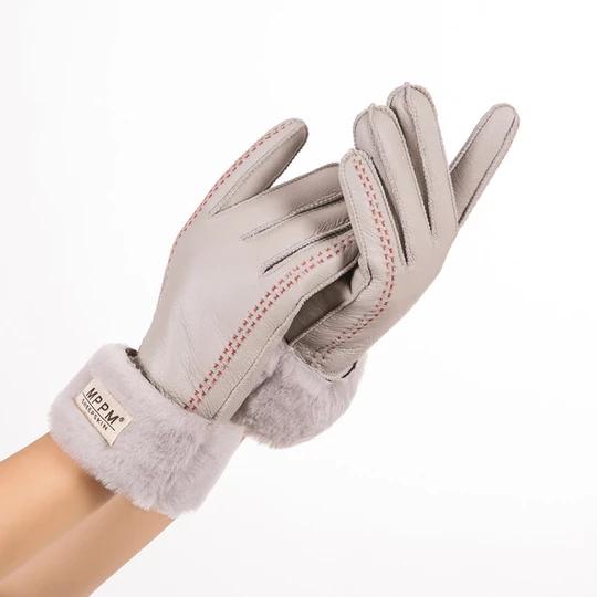 dark brown ladies women 100/% genuine real leather sheepskin finger less gloves