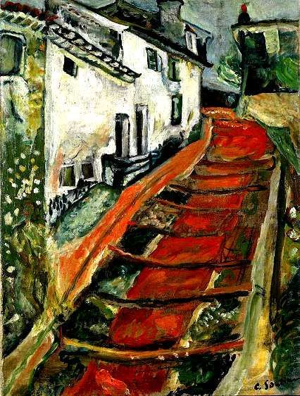'L'escalier Rouge' (The Red Staircase) by Chaïm Soutine, 1918. An expressionist painter constantly dissatisfied with his talent, Chaim Soutine portrayed his own violent emotions in his work using vivid colors, often RED, and distorted images. His artistic style mixed his Jewish heritage with Fauvism and Cubism.  He often destroyed his own works.