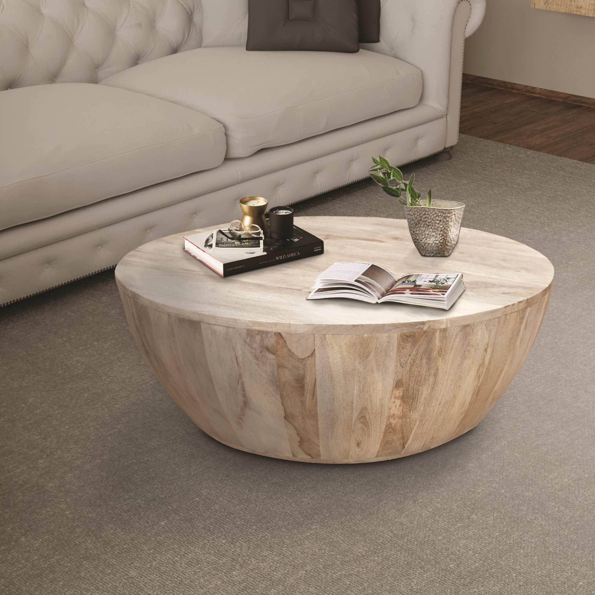 Distressed Mango Wood Coffee Table In Round Shape Washed Light Brown By The Urban Port Mango Wood Coffee Table Round Wood Coffee Table Coffee Table Wood [ 2000 x 2000 Pixel ]