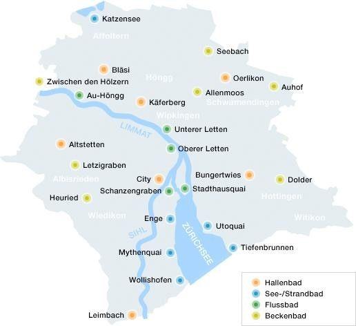 Karten Mit Allen Badern Der Stadt Zurich Strandbad Graben