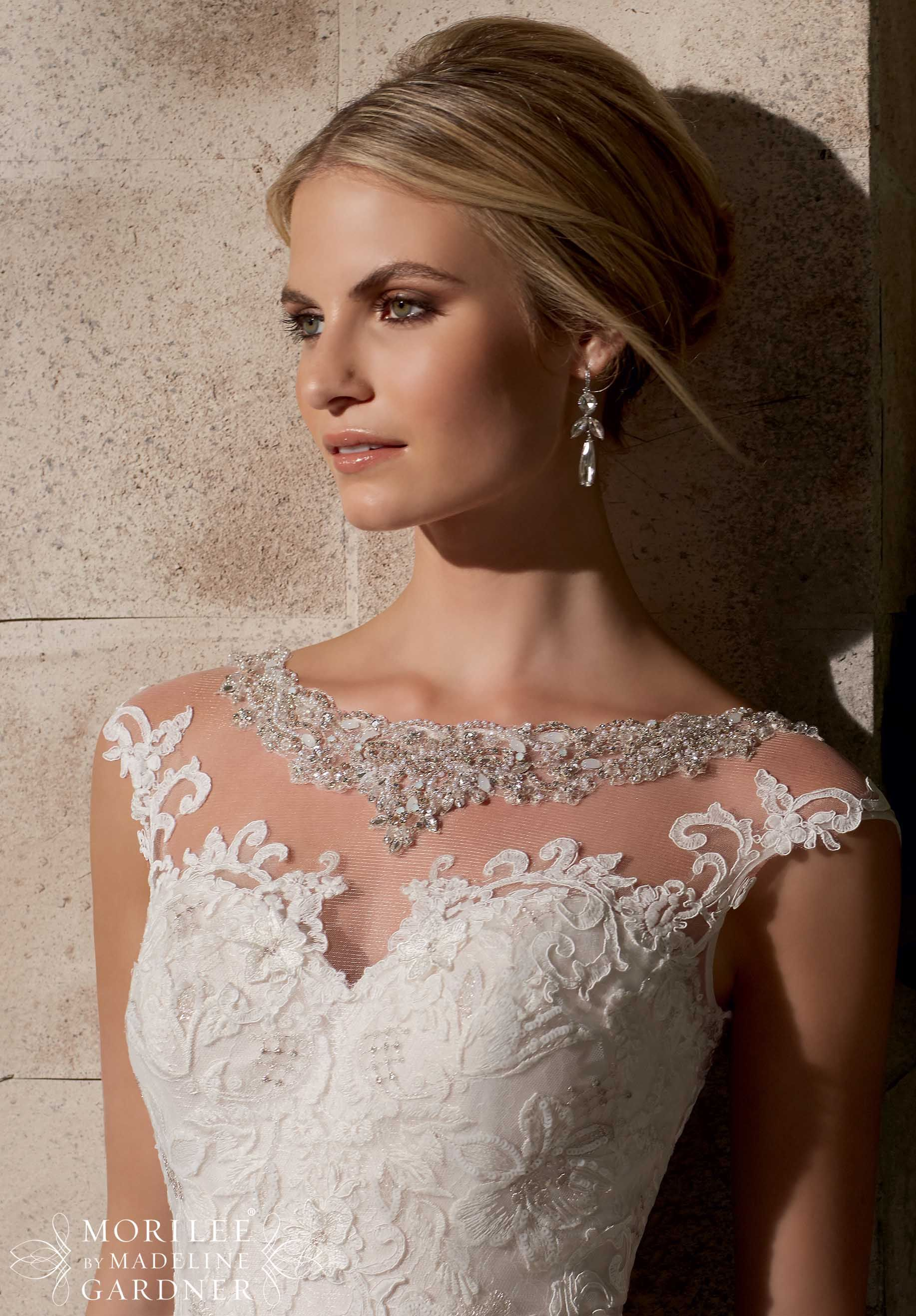 EMBROIDERED APPLIQUES ON NET OVER CHANTILLY LACE WITH CRYSTAL ...