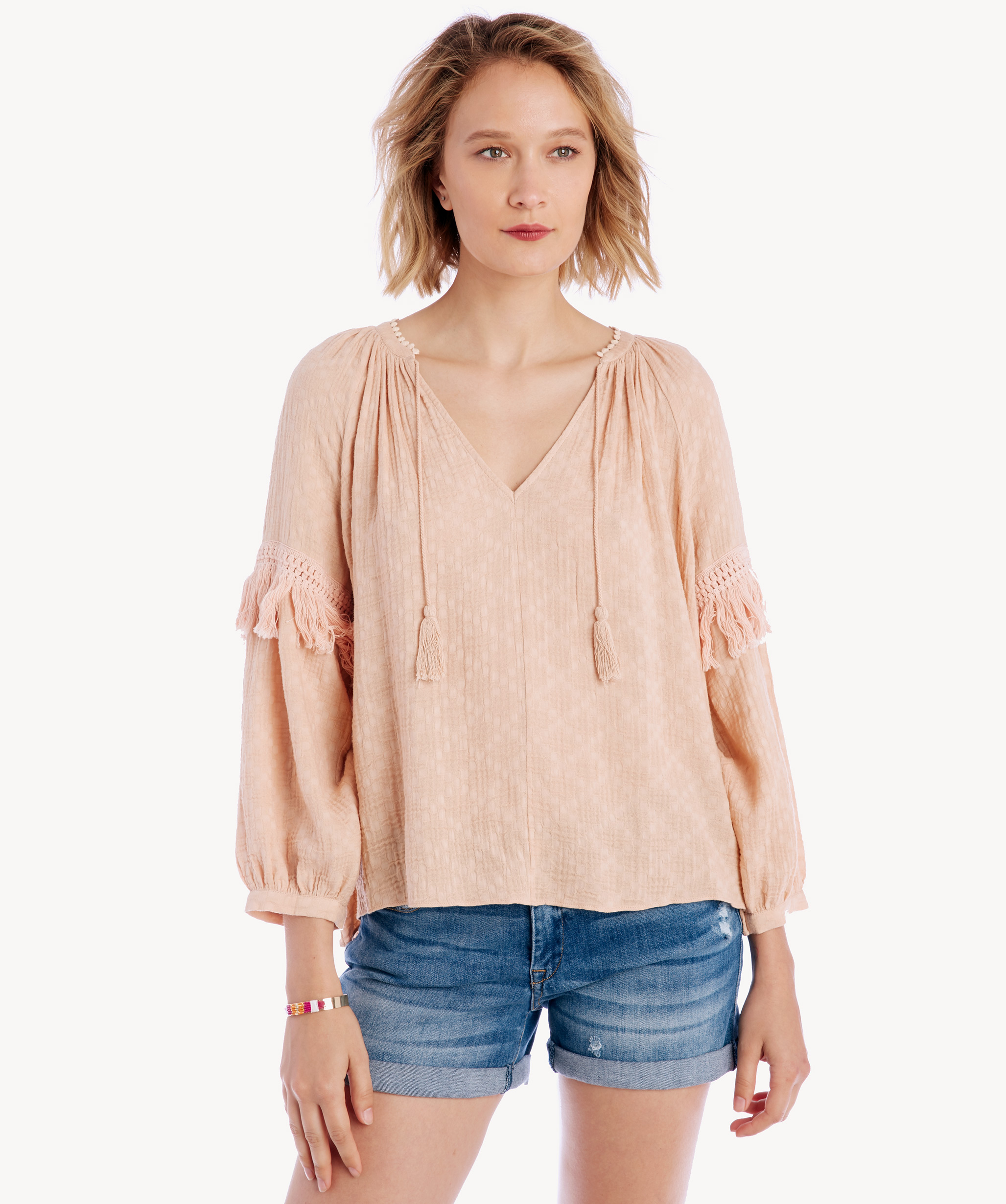 0e539a2bdb1cdd 1. State Women s Split Neck Blouson Sleeve Top With Fringe In Color  Peach  Buff