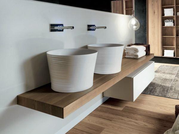 Piano lavabo doppio in legno massello VIA VENETO | Piano lavabo ...