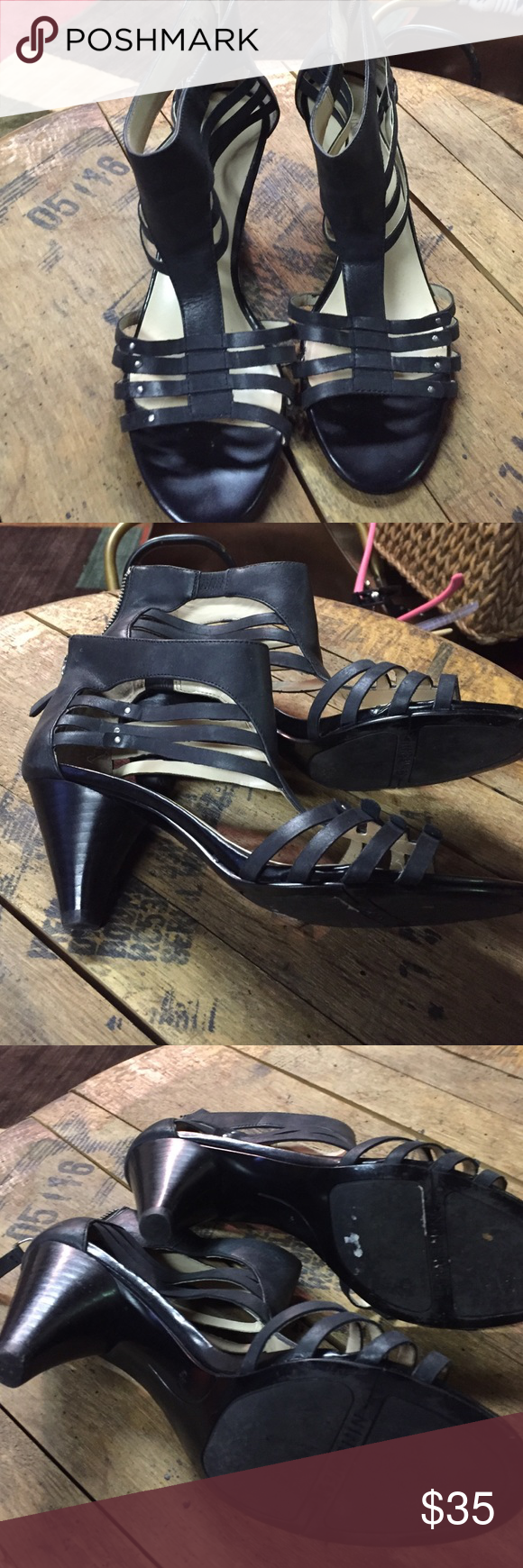 "Black leather sandal with 3"" heel Black leather sandals with stappy details and zipper back. Nine West Shoes"