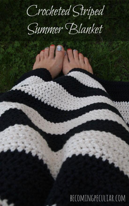 Crocheted striped summer blanket. Great beginner project! Easy ...