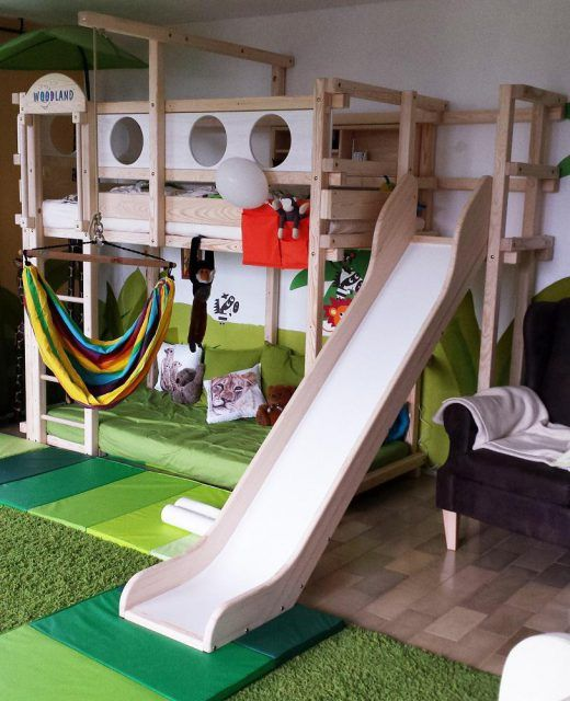 Photo of Children's room – loft bed with slide and swing