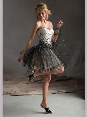 White/Black Sweetheart Sequins Tulle 2013 Short Prom Dresses