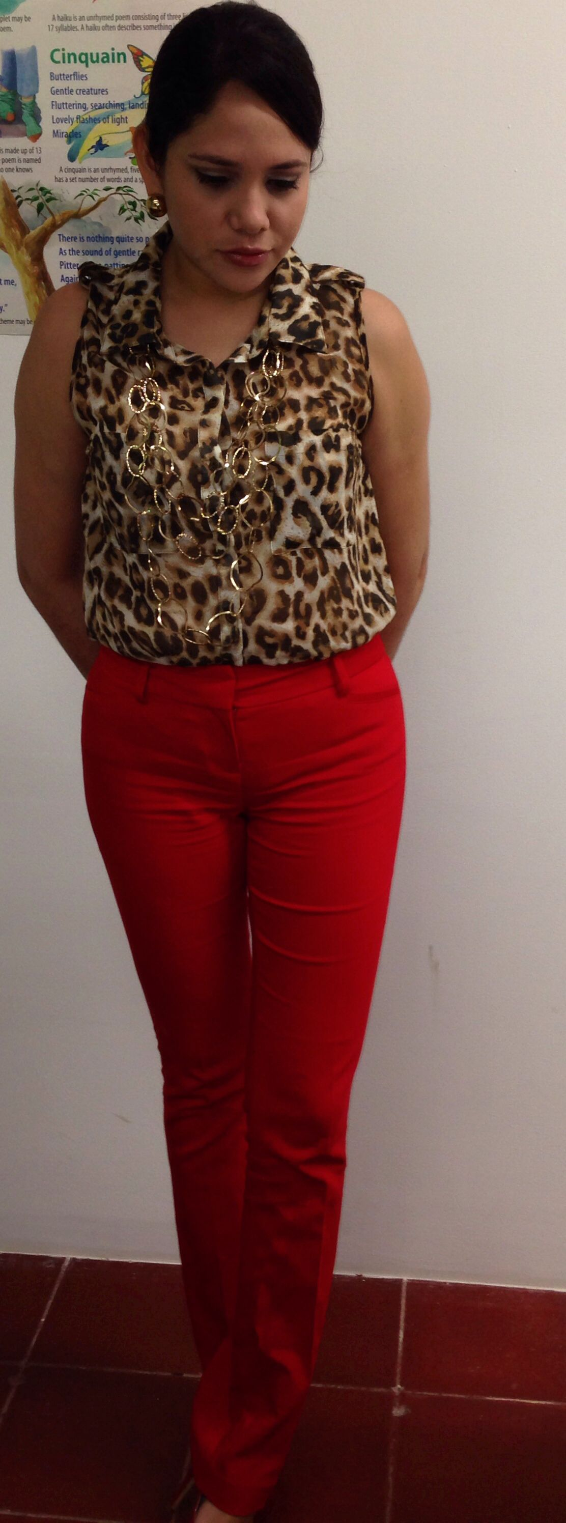 Leopard print on red
