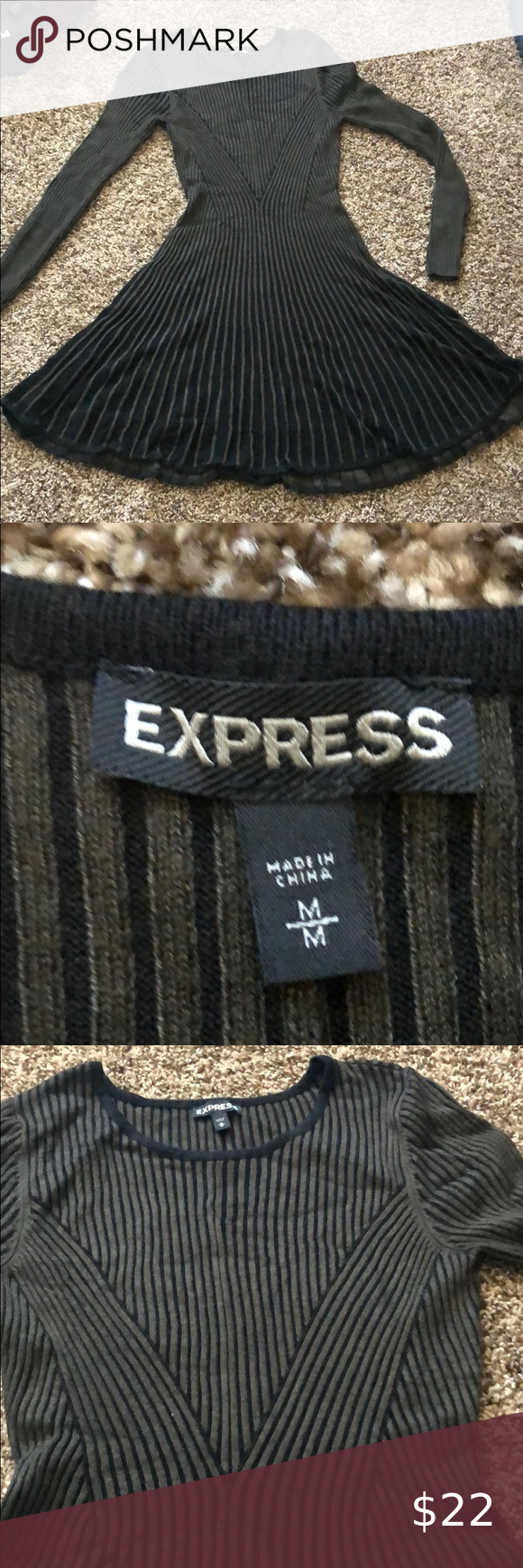 Express olive sweater dress