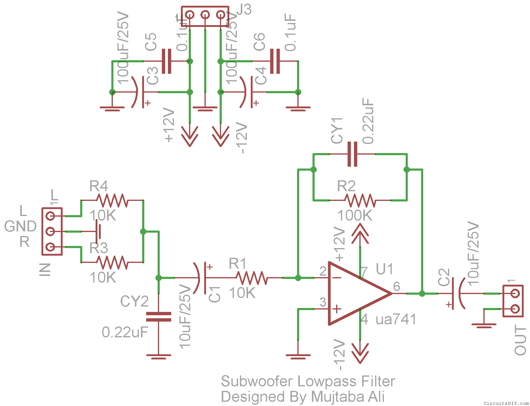 Low Pass Subwoofer Circuit Diagram Lm741 Sub Pinterest Working Of Hybrid Cars Electronic Circuits And Diagramelectronics
