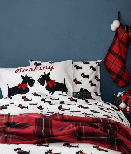Christmas Festive Westie Dog  Duvet Cover Printed Bedding Set With Pillowcases