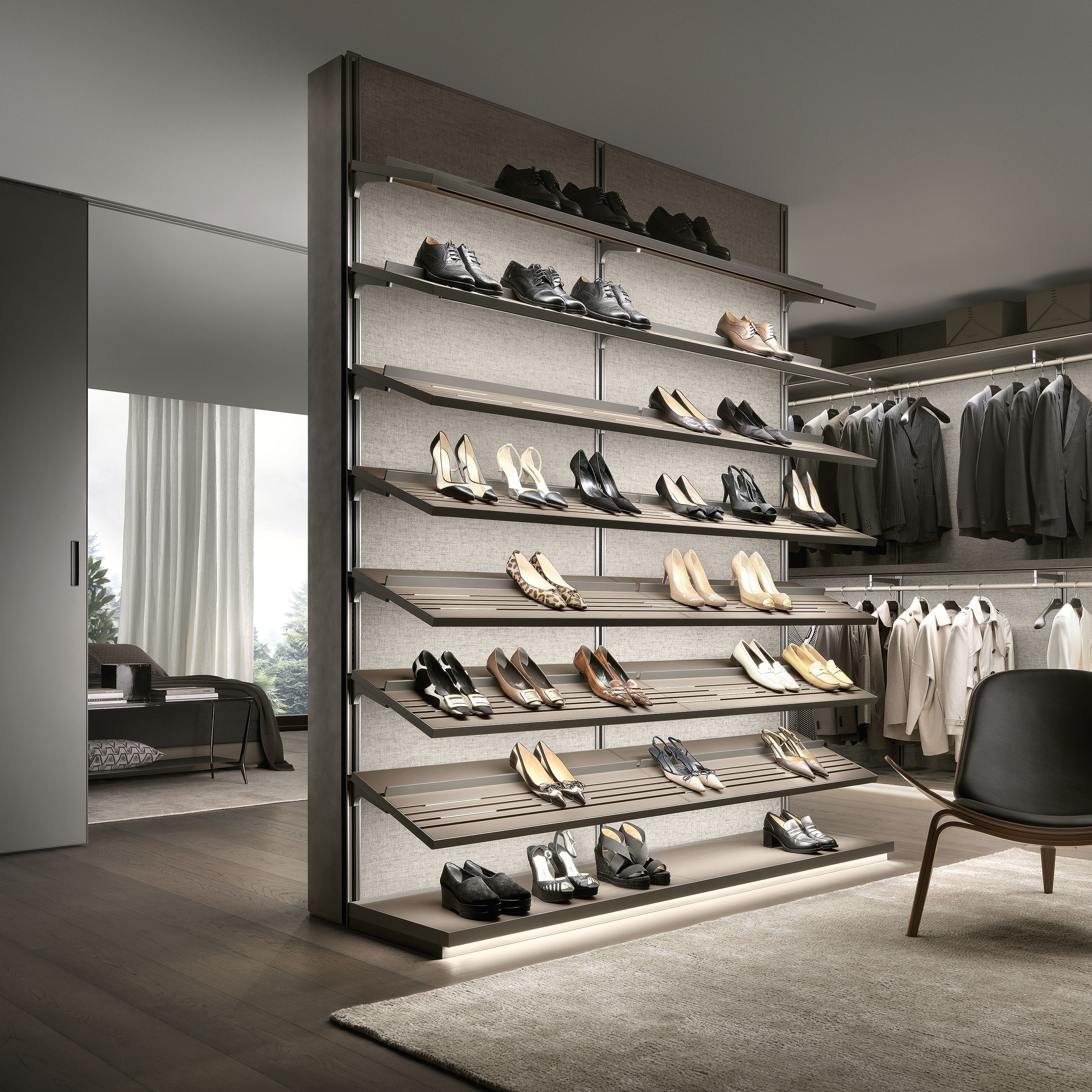 Composition With Shoe Rack Shelves Provided With Lower Led Lighting,