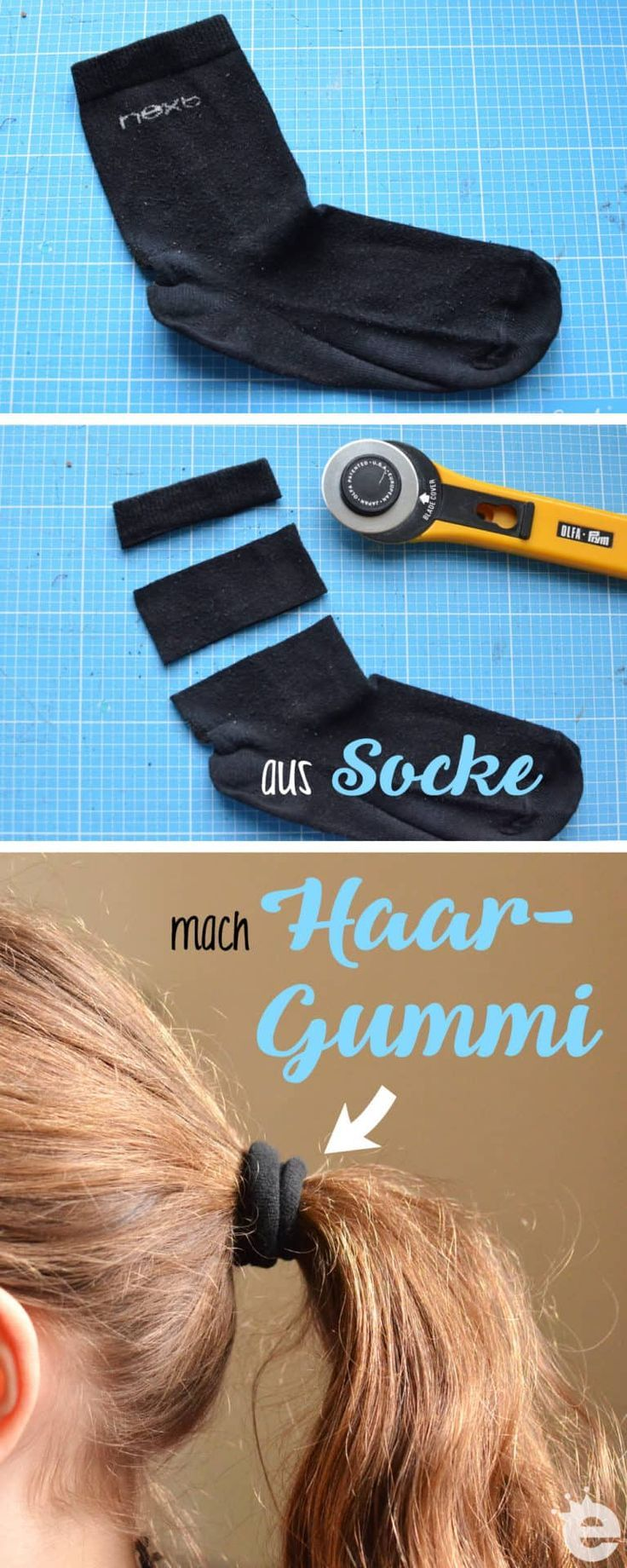 Socken-Upcycling-Ideen: Puppenmützen und Haargummis #dollhats