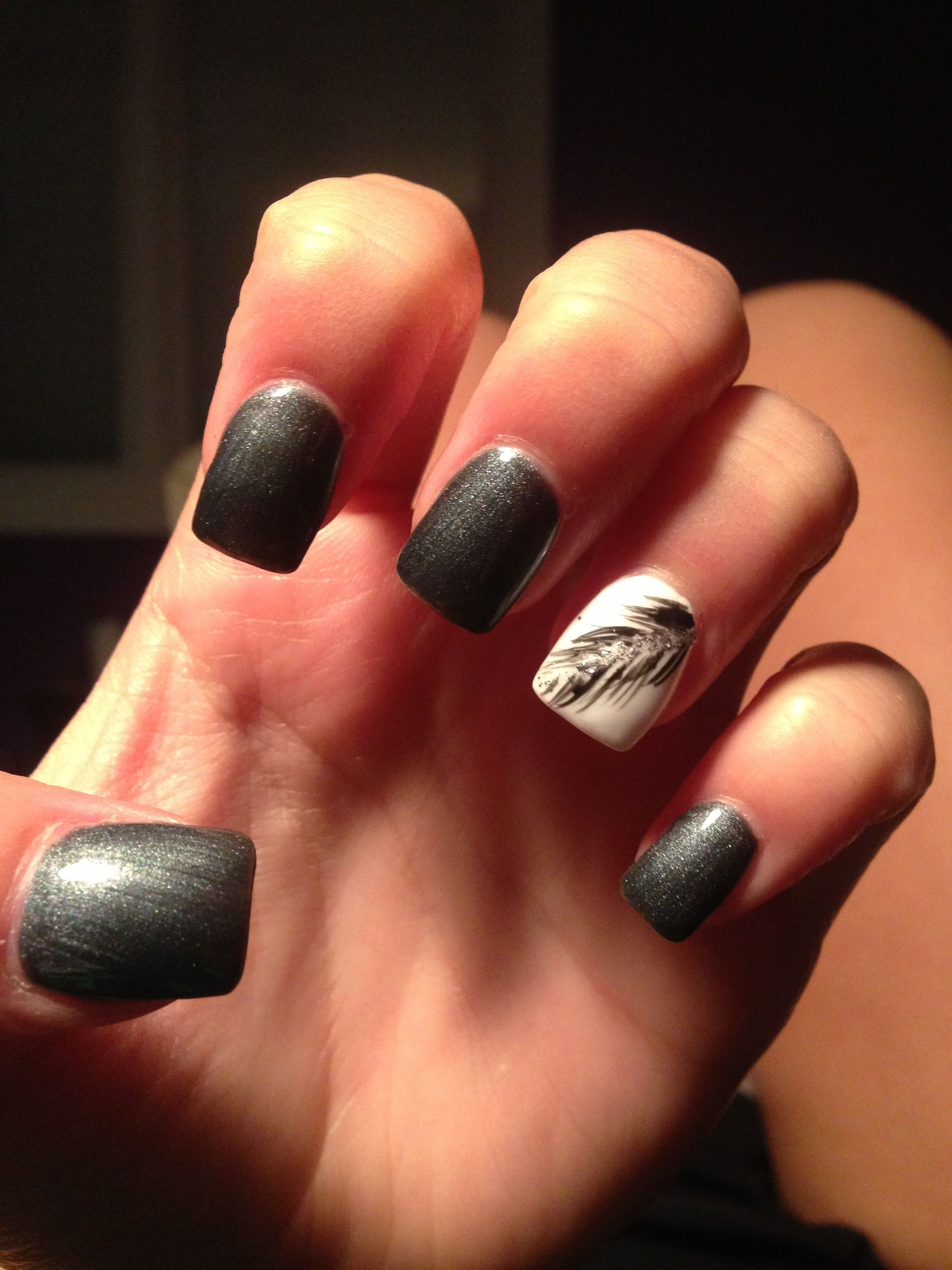 Feather nail design | nails | Pinterest | Feather nail designs ...
