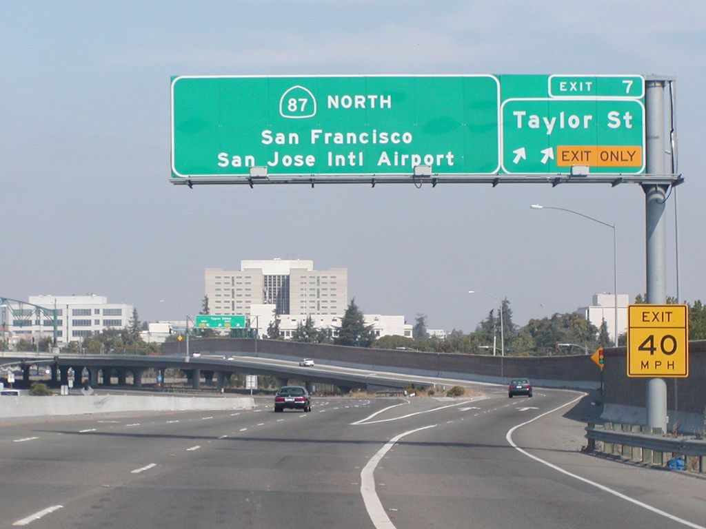 San Jose Interactive Map%0A State Highway Junction Route CA   Northbound Guadalupe Parkway San Jose  International Airport  San