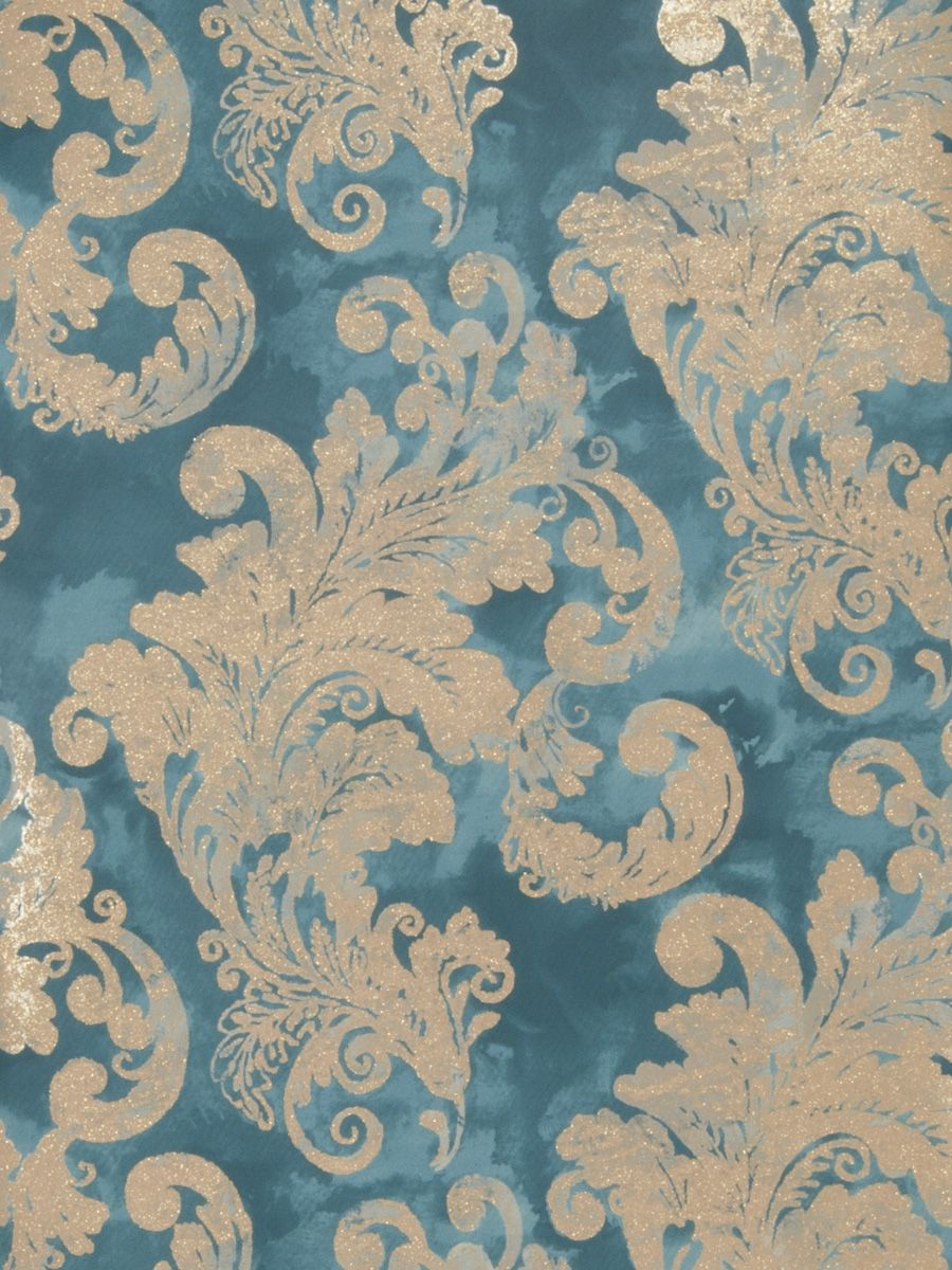 audrey wallpaper in color teal from fabricut's gilded glamour