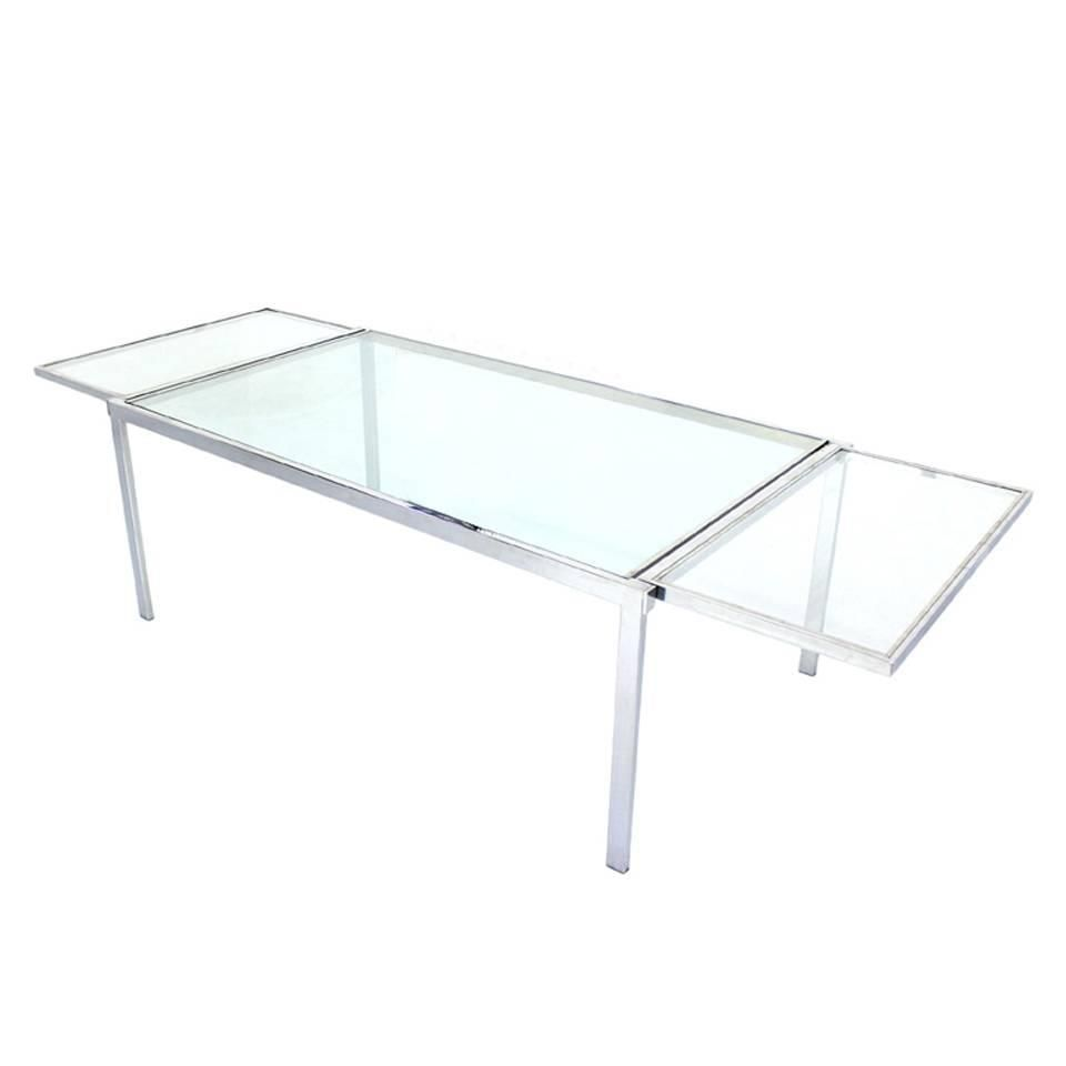 Chrome Glass Dining Conference Table With Drop Leaf Extensions Self Containing Conference Table Modern Dining Room Tables Table