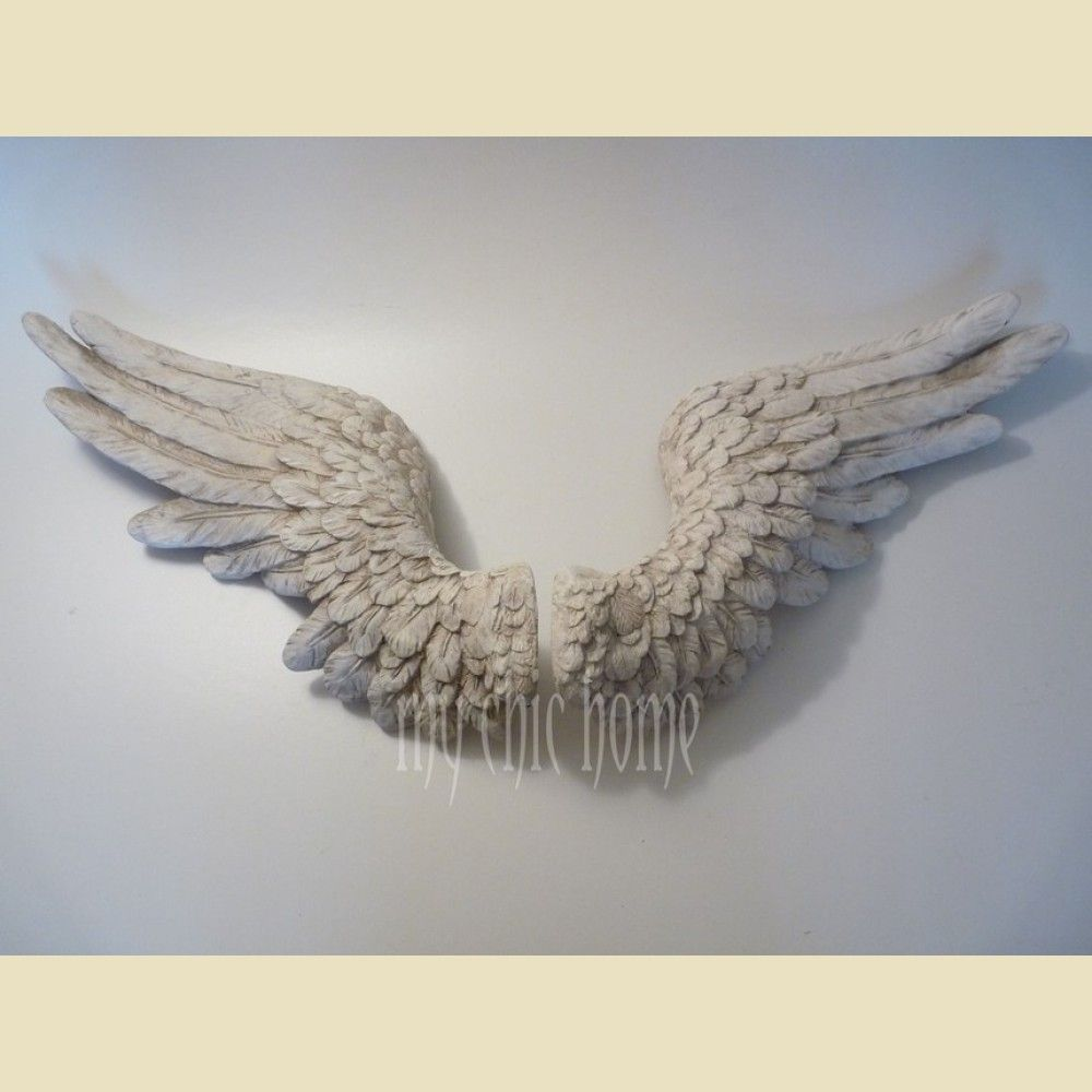 Wood Wings Wall Decor : Cream angel wings wall hanging sculpture plaque