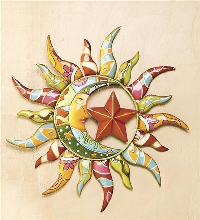 Deck and Patio : Talavera Painted Metal Sun And Moon Wall Art ...