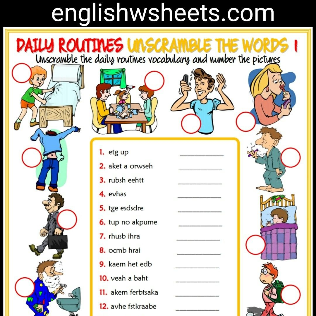 Daily Routines Esl Printable Unscramble The Words Worksheets For Kids Daily Routines