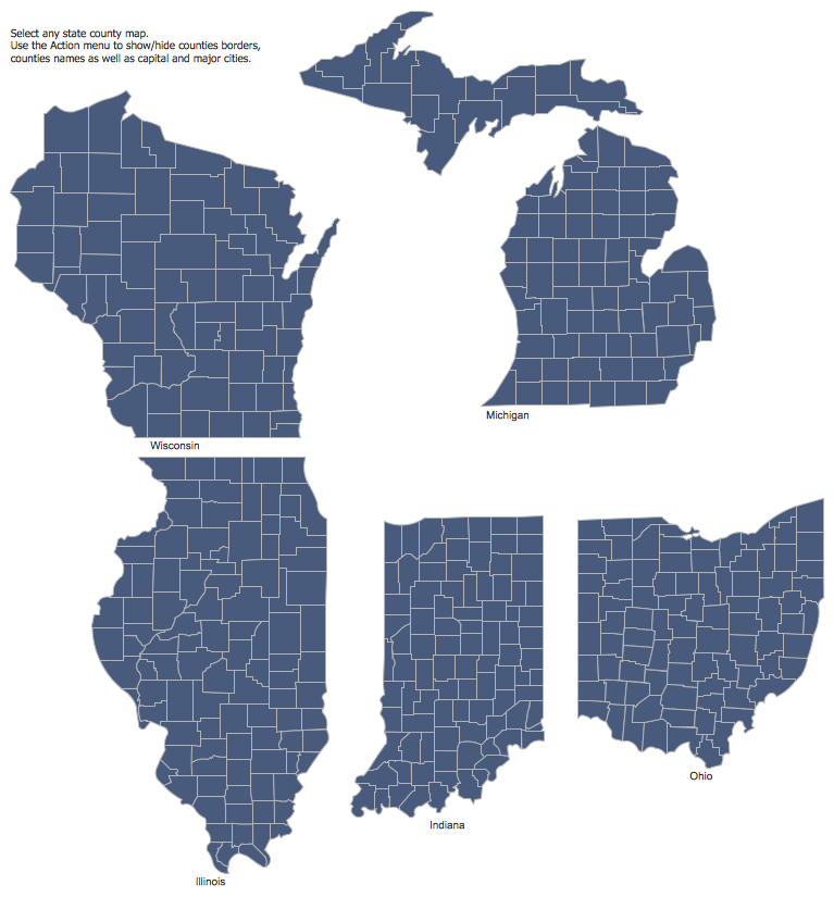 Design Elements — East North Central States | Maps - USA ...