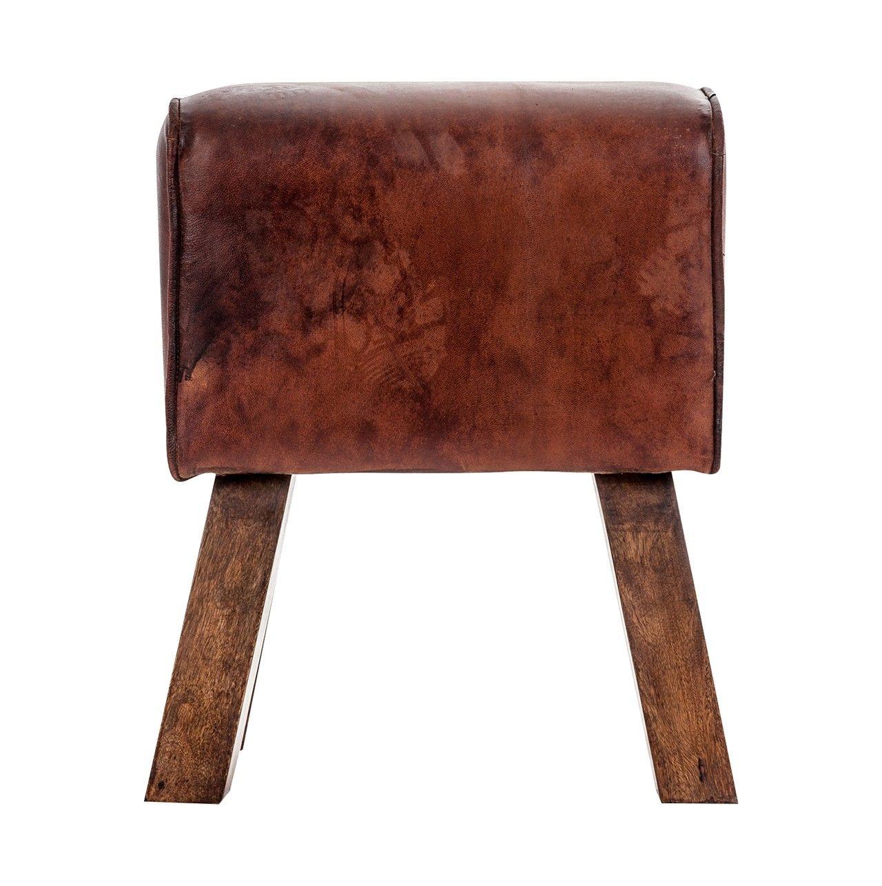 Banqueta tipo industrial con asiento tapizado en piel for Silla industrial barata